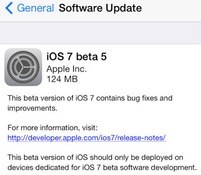 Apple tung ra bản iOS 7 beta 5