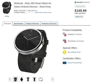 Lộ giá Moto 360 trên Best Buy