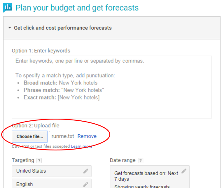 Get click and cost performance forecasts