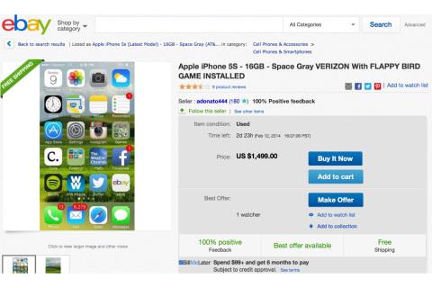 eBay cấm bán điện thoại cài sẵn Flappy Bird