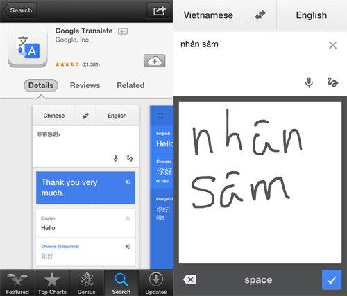 Google Translate trên iOS hỗ trợ phiên dịch chữ viết tay