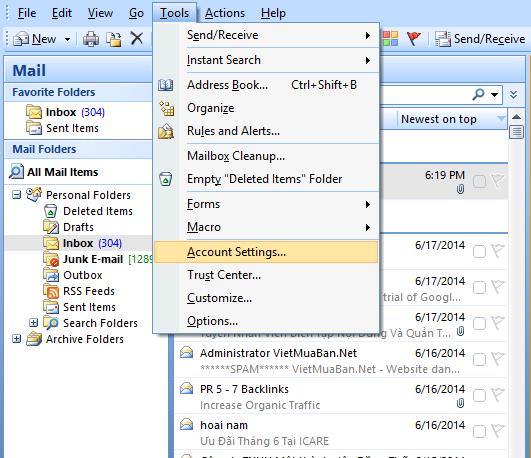Hướng dẫn cài đặt Outlook