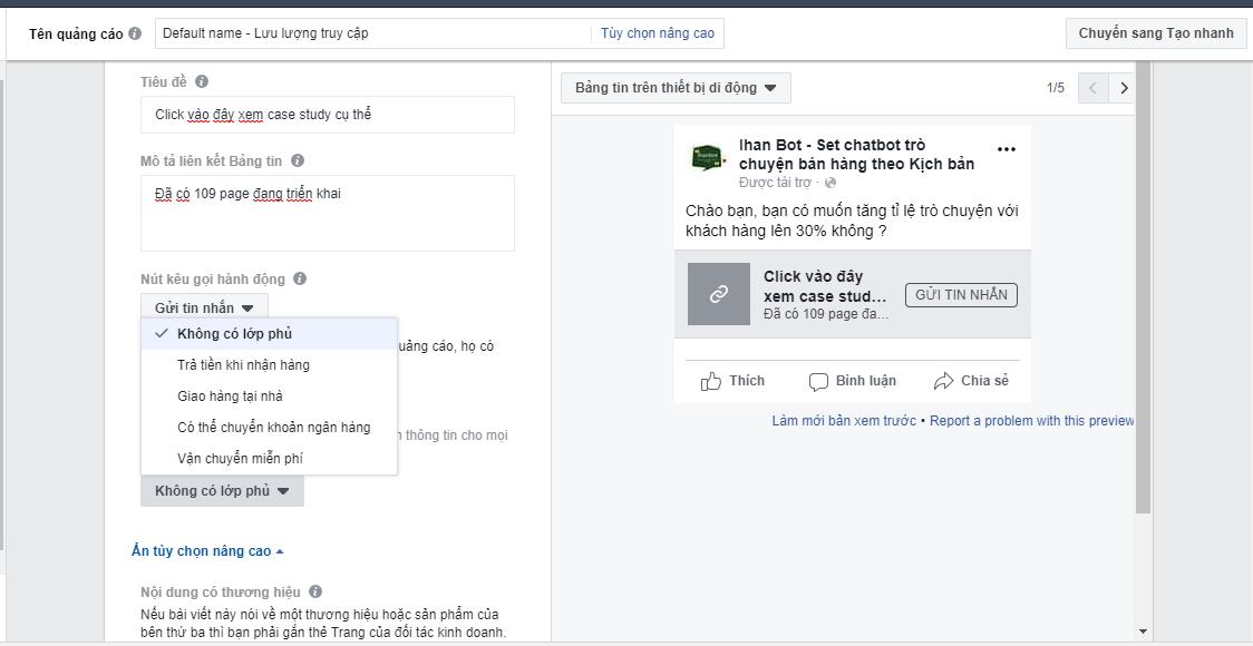 Hướng dẫn tạo quảng cáo messenger facebook Chạy quảng cáo tin nhắn facebook