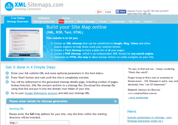 Hướng dẫn tạo sitemap cho website